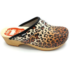 DINA Leather clogs Panter