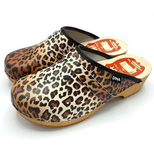 DINA DINA leather clogs Panter