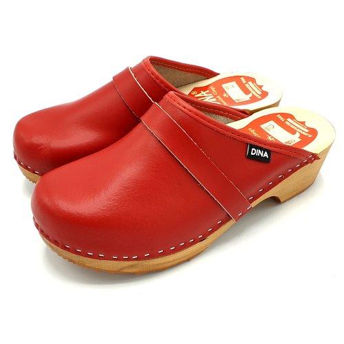 DINA DINA leather clogs Red