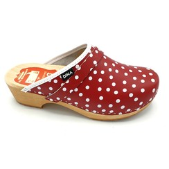DINA leather clogs red with dots