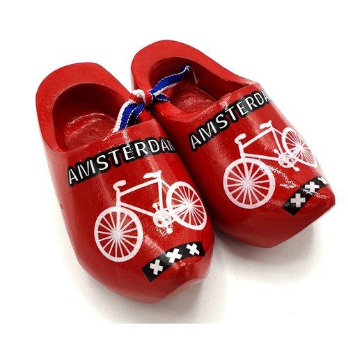 Souvenir klompenpaartje 12cm Rood met fiets