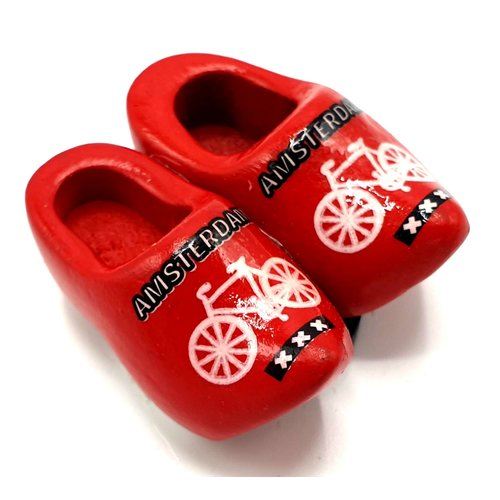 Woodenshoe magnet 4cm Red  with bicycle