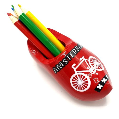 Pencil clog with 6 pencils red  with bicycle