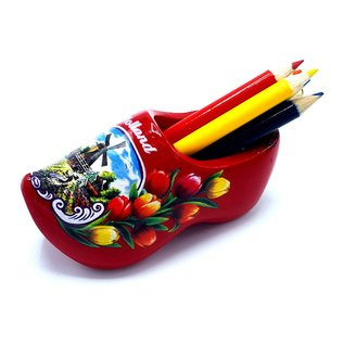 Pencil clog with 6 pencils red