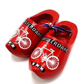 Souvenir klompenpaartje 10cm rood met fiets