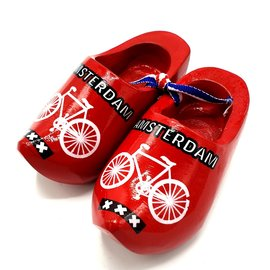 Souvenir woodenshoes 10cm red with bicycle