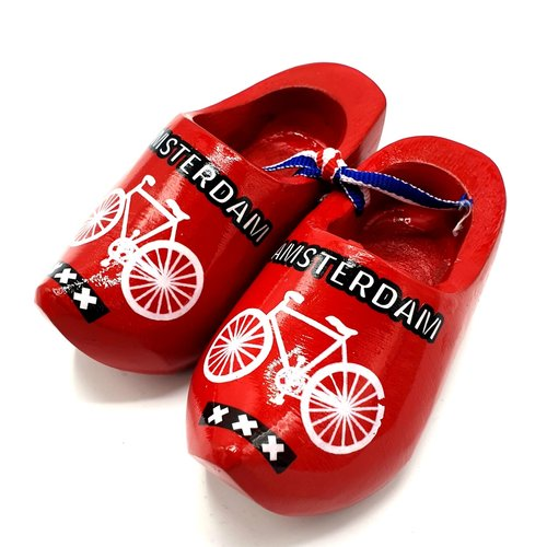Souvenir woodenshoes 6cm Red with bicycle