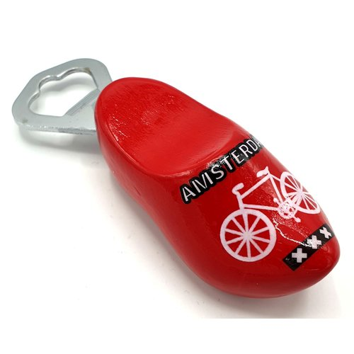 Bottle opener clog 8cm Red with bicycle