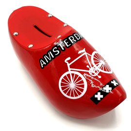 Money bank clog 15cm Red with bicycle