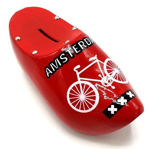 Spaarpot klomp 15cm Rood met fiets