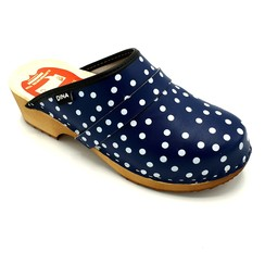 DINA leather clogs blue with dots
