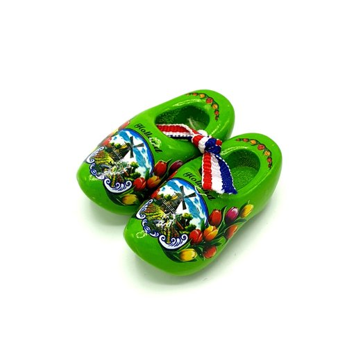 Souvenir woodenshoes 5cm Green