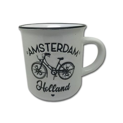 Retro Mok Fiets Amsterdam Wit