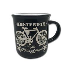 Retro Mok Fiets Amsterdam zwart