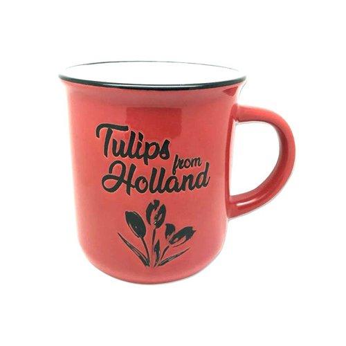 Retro Mug Tulips Red