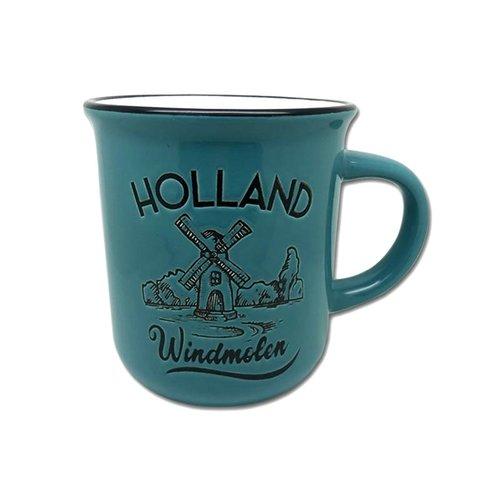 Retro Mug Windmill blue
