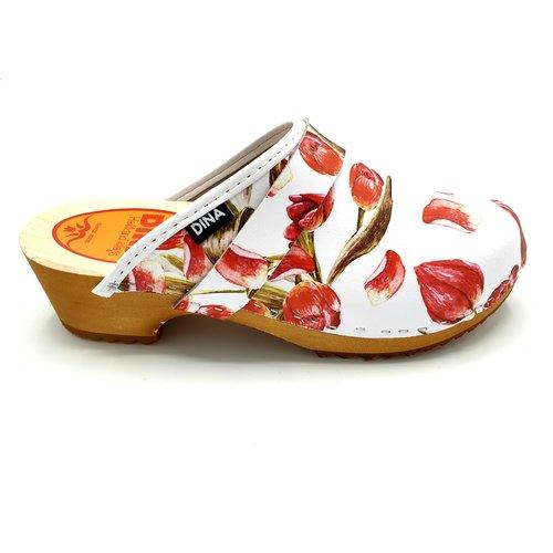 DINA DINA leather clogs red tulip