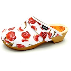 DINA leather clogs red tulip
