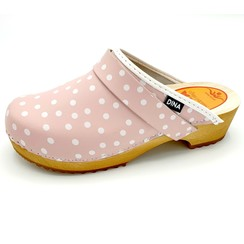 DINA leather clogs pink dots