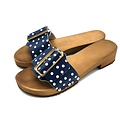 DINA Sandalen brede gesp blauw met dots
