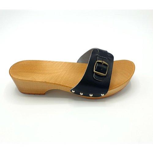 DINA Sandalen zwart smalle gesp S1