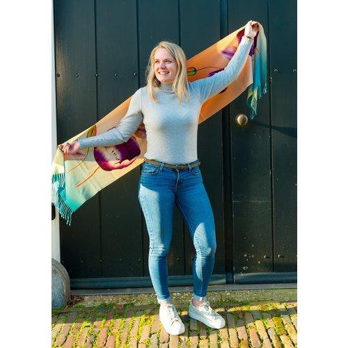 Irene Tulip scarfs sjaal oranje/blauw TR921