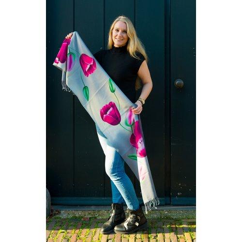 Irene Tulip scarfs sjaal grijs TGR919