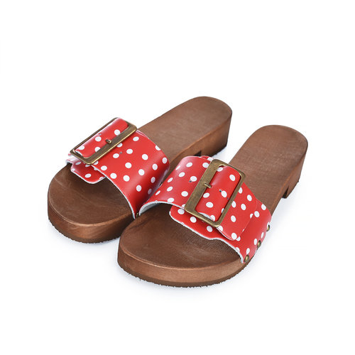DINA Sandals red dots wide buckle