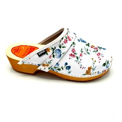 Swedish clogs white with flowers