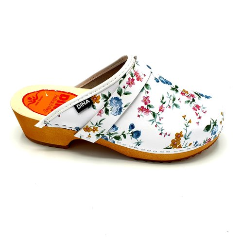 DINA Swedish clogs white with flowers