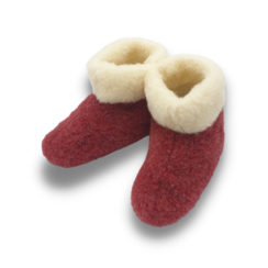 slippers wool 100% natural red/white high