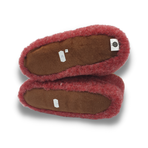 DINA slippers wool 100% natural red/white high