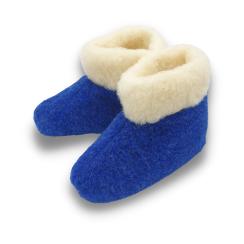 slippers wool 100% natural blue/white high