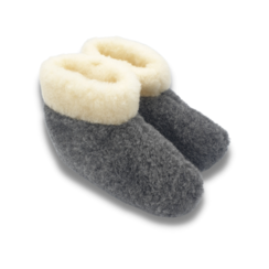 slippers wool 100% natural BLACK with collar