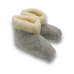 slippers wool 100% natural GREY with collar