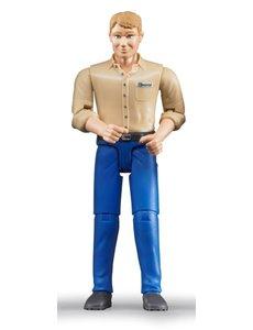 Speelfiguur man: blank, blond, blauwe jeans