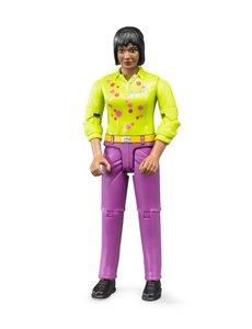 Bruder 60403 - Speelfiguur vrouw: bruin, zwart, roze jeans