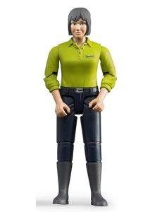 Bruder 60405 - Speelfiguur vrouw: blank, grijs, donker blauwe jeans