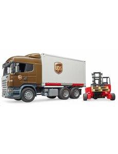 Bruder 3581 - Scania R-vrachtwagen UPS met heftruck