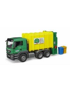 MAN TGS vuilniswagen groen/geel incl 2 kliko's