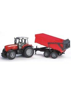 Bruder 2045 - Massey Ferguson 7480 met kiepaanhanger rood