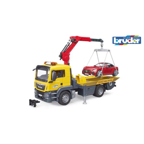 Bruder 3750 - MAN TGS Afsleepwagen met autolaadkraan