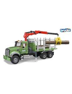 Mack Granite houttransporter met laadkraan en bomen