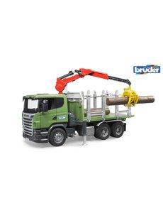 Scania R houttransport met kraan en 3 boomstammen