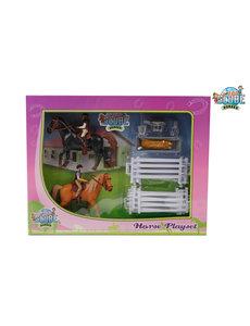 Kids Globe Speelset: 2 paarden met ruiters en accessoires 1:24 (geschikt voor Schleich) - KG 640072