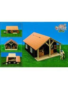 Kids Globe Paardenstal hout met 2 boxen en berging (geschikt voor Schleich)1:24 - KG61067