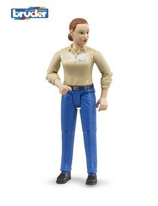 Bruder 60408 - Speelfiguur vrouw: blank, bruin, blauwe jeans