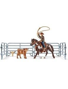 Schleich Cowboy met lasso en kalf - 41418
