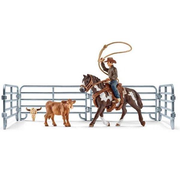 Schleich 41418 - Cowboy met lasso en kalf