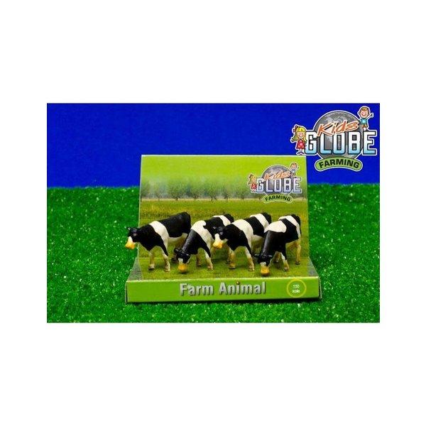 Kids Globe 4 Koeien staand zwartbont 1:50 - KG571967